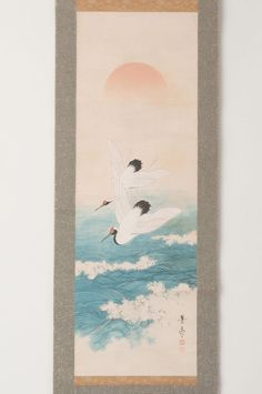 Japanese hanging scroll 2 cranes painting Antique wall art hs0428