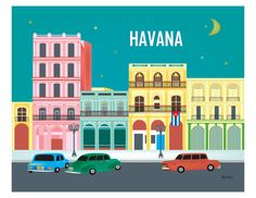 Havana, Cuba Skyline Destination Print - Travel Wall Art - for Home, Office, and Nursery - style sold by Loose Petals. Shop more products from Loose Petals on Storenvy, the home of independent small businesses all over the world. Cuban Art, Cuba Travel, Beach Travel, Mexico Travel, Spain Travel, Havana Nights, Travel Wall Art, Skyline Art, Havana Cuba
