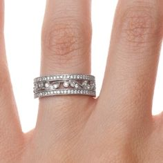 18K White Gold Flora Ring, top view