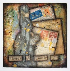 Original Collage Lonely Girl Mixed Media Art on 6x6 by wiggelhevin, $50.00