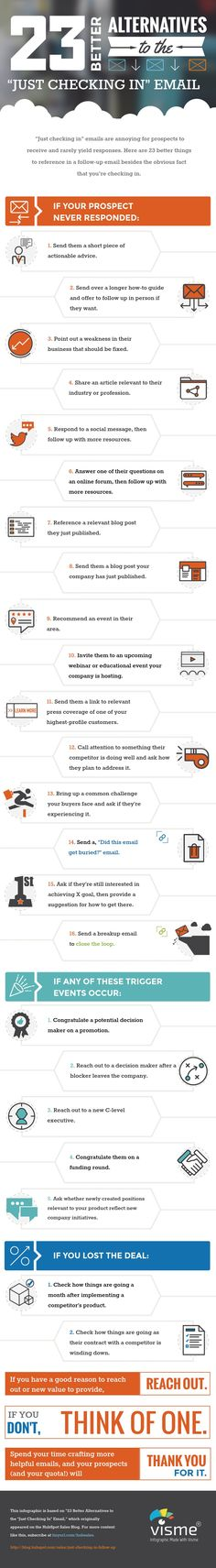 """HubSpot: 23 Better Alternatives to the """"Just Checking In"""" Email [Infographic] via @hubspot"""