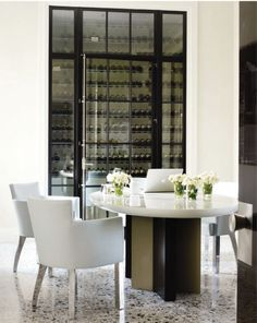 Gorgeous table, wine store, chairs with metal legs - for my dream house!