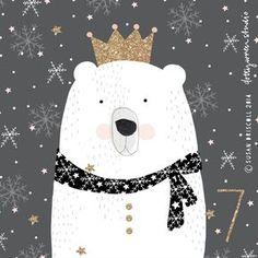Polar bear king illustration is wonderful by dottywrenstudio Illustration Mignonne, Illustration Noel, Christmas Illustration, Polar Bear Illustration, Winter Illustration, Winter Art, Christmas Art, Polar Bear Christmas, Christmas Ideas