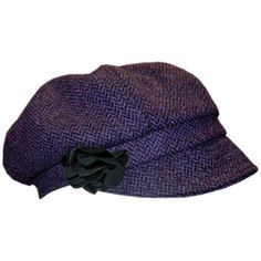 0b1c26ae85e Eye catching ladies Newsboy cap. Made in Ireland this purple and black tweed  hat is