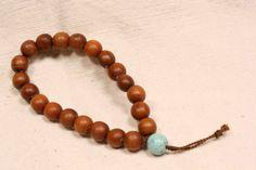 Box Wood and Turquoise Wrist Mala Bracelet by QuietMind on Etsy, $24.00