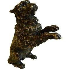 Charming Antique English Bronze Figural Inkwell - Begging Dog With Original Glass Eyes