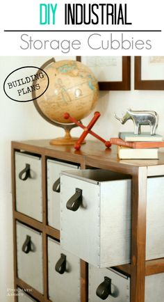 DIY Industrial Style Storage Cubbies- free building plans!  maybe a better storage idea for my holiday decor?bed