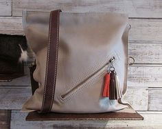Crossbody bag, leather crossbody purse, cross body foldover bag, ivory purse