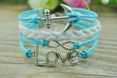 Anchor & Infinity LOVE Bracelet Light blue Wax Rope and White Braided Leather Bracelet Ancient Silver Bracelet Christmas gifts M590