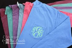 Comfort Colors Brand Monogrammed Long Sleeve by BoutiqueByTheCreek, $28.00 blue and pink with white lettering <3