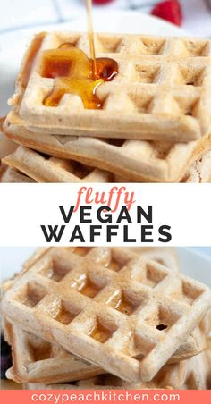 These fluffy vegan waffles are a great reason to roll out of bed on lazy weekends. They're easy to mix up and perfectly golden! Vegan Waffle Mix Recipe, Waffle Mix Recipes, Vegan Breakfast Recipes, Vegan Desserts, Vegetarian Recipes, Waffles, Pancakes, Peach Kitchen, Dairy Free Breakfasts
