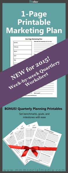 Use this 1-page printable to set your #marketing goals for the 2015. Bonus quarterly planners for mini goals and milestones. #socialmedia