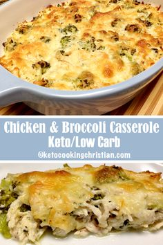Chicken and Broccoli Casserole - Keto and Low Carb This casserole is easy and delicious! Fresh broccoli and shredded chicken is baked in cheesy goodness. It has great flavor and lots of healthy fats! You can use rotisserie chicken, as a time-saver and even prepare ahead of time, then bake off later. #ketorecipes #keto #lowcarb #ketodiet #ketogenicdiet #lowcarbdiet #ketogenic #lowcarbhighfat #lowcarbrecipes #lchf #glutenfree #ketoweightloss #ketocookingchristian