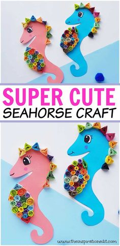 Here is a fantastic step by step tutorial for a paper seahorse quilling project that kids will love to make. This under the sea themed craft idea is Ocean Kids Crafts, Ocean Theme Crafts, Sea Crafts, Fish Crafts, Summer Crafts For Kids, Glue Crafts, Easy Crafts For Kids, Toddler Crafts, Preschool Crafts