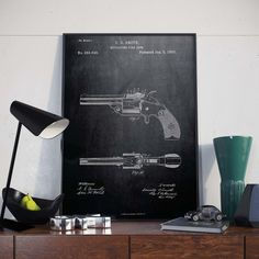 Revolving Fire Arm Patent Print Gift for Soldier Cowboy