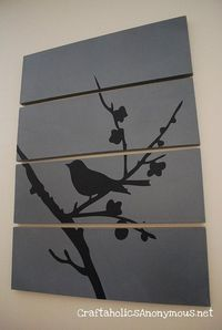 Tree and Bird. Do this with white background and gray (matching the wall color?) silhouette.