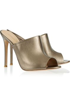 Gianvito Rossi Metallic leather mules