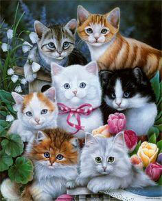 cat art   Many cats paintings. Jenny Newland.