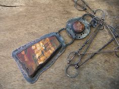 RESERVED Autumn Red Creek Jasper Copper Necklace Pendant