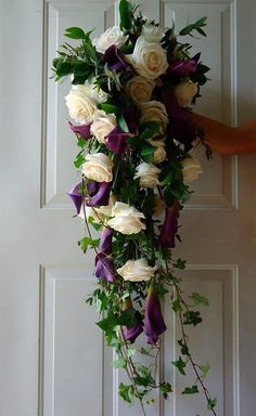 CBR204 Weddings riviera maya white an purple bouquet/ bodas riviera maya ramo blanco con morado en cascada