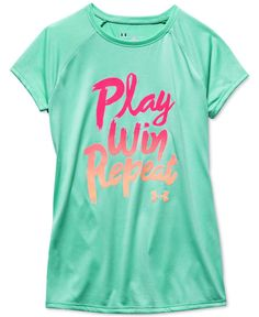 Cute and sporty, this charming T-shirt from Under Armour features an adorable graphic and loose fit to keep her comfortable while she plays. | Polyester | Machine washable | Imported | Crew neck | Sh