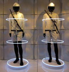 Window Display: This Moncler window display reminded us of electro duo Daft Punk…. WGSN store shot, Beijing