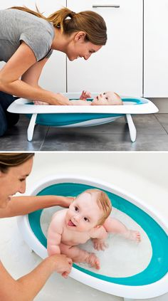 Collapsible Baby Bathtub. Recline position cradles newborn. Expandable basin accommodates infants and toddlers. Collapsible design and hook make storing easy. BpA-free, Phthalate-free and PVC-free.