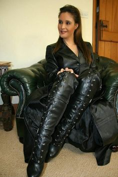 Sexy Boots, Cool Boots, Sexy Heels, Laced Boots, Thigh High Boots, High Heel Boots, Over The Knee Boots, Long Leather Coat, High Leather Boots