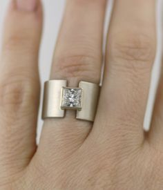 unique 14K gold wide band wedding ring princess by lolide on Etsy, $2,295.00