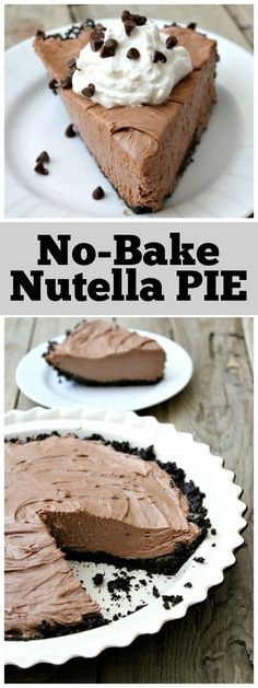 Nutella Pie Easy No Bake Nutella Pie recipe from : only 5 ingredients with optional garnishes.Easy No Bake Nutella Pie recipe from : only 5 ingredients with optional garnishes. Nutella Pie, Desserts Nutella, Mini Desserts, No Bake Desserts, Delicious Desserts, Dessert Recipes, Recipes Dinner, Baking Desserts, No Bake Nutella Cheesecake