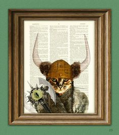 Catseye the Mauler Viking Cat Dictionary Page Art Print on the redditgifts Marketplace