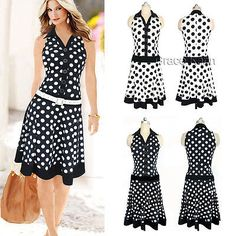 Sexy Womens Summer Polka Pencil Mini Dresses Casual Work Cocktail Prom Size S-XL Casual Dresses, Prom Dresses, Summer Dresses, Mini Dresses, Bodycon Dress Parties, Summer Outfits Women, Baby Dress, Sexy Women, Fashion Outfits