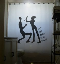 Toilet Humor Funny Shower Curtain Psycho Killer bathroom decor kids bath Put The Seat Down halloween horror stab with knife scary on Etsy, $65.00