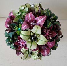 Alternative wedding bouquet origami flowers raspberry lime emerald theme www.lilybellekeepsakes.com