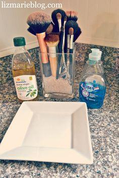 How To clean Makeup brushes at lizmarieblog.com