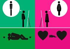 Ilustrações minimalistas retratam os estereótipos associados a homens e mulheres