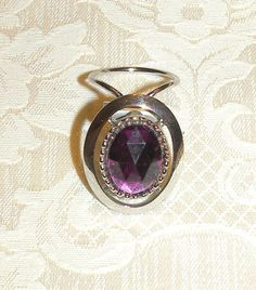 Vintage Scarf Clip Scarf Buckle Purple Oval Silver Tone Scarf Ring Scarf Clip