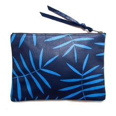 Kertis - Blue Palm Leather Zipper Clutch from Foxy & Winston LLC for $84.00 on Square Market