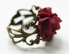 Steam Punk Ring Silver Rose Ring with Red by robinhoodcouture