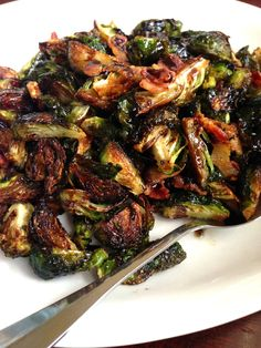 Balsamic Brown Sugar Brussels Sprouts Half pound of fresh Brussels Sprouts, cut into quarters 5-6 slices of Bacon, cut into bite size pieces 2 Tbs Olive Oil Pinch of Salt & Pepper 2 Tbs Brown Sugar 1 Tbs Aged Balsamic Vinegar (the super thick stuff!) + more drizzled over
