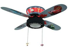 Disney Cars ceiling fan - no info on blade size, but I am in love with this…