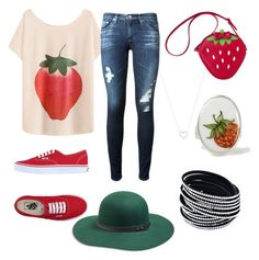 """Strawberry"" by blkleynen on Polyvore featuring AG Adriano Goldschmied, Vans, Lucky Brand, Tiffany & Co. and Materia Prima"
