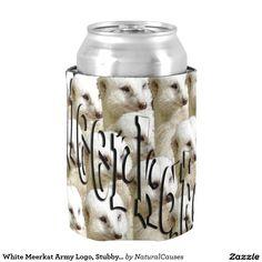 White Meerkat Army Logo, Stubby Cooler