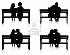 Image Detail for - Different Silhouettes Of Couples On Benches. Royalty Free Cliparts ...