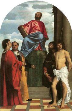 Tiziano, San Marco in trono con i Santi Cosma, Damiano, Rocco e Sebastiano, 1510-11 Venezia. Chiesa della Salute. em http://arteseanp.blogspot.com