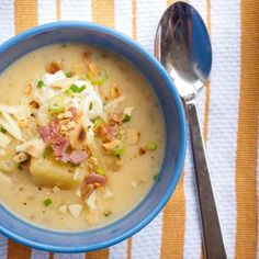 Slow cooker baked potato soup! There is nothing better on a cold evening!  Via ZipList