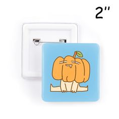 """Pumpkin 2"""" Square Button 2"""" Square Button White - SnapMade (9.00 BAM) ❤ liked on Polyvore featuring jewelry, white jewelry, pumpkin jewelry, safety pin jewelry and button jewelry"""