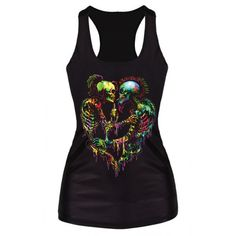 f796e11e Women's Terror Ghost Graphic Bodycon Camisole Sleeveless Tee Blouse T-Shirt  Vest 1 PY Racerback