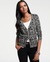 Petite Abstract City Print Cotton Blend V-Neck Cardigan - The perfect layering piece for the girl-about-town, our abstract print cardigan is crafted from a supremely soft cotton blend. V-neck. Long sleeves. Button front. Front pockets. Ribbed pockets, cuffs and hem