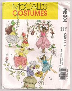 Fairy Costume Childs Pattern McCalls 5904 Fairy Hat and Wings, Pixie Costume, Pixie Hat, Fantasy Play Clothes, Halloween Costume 2 3 4 5